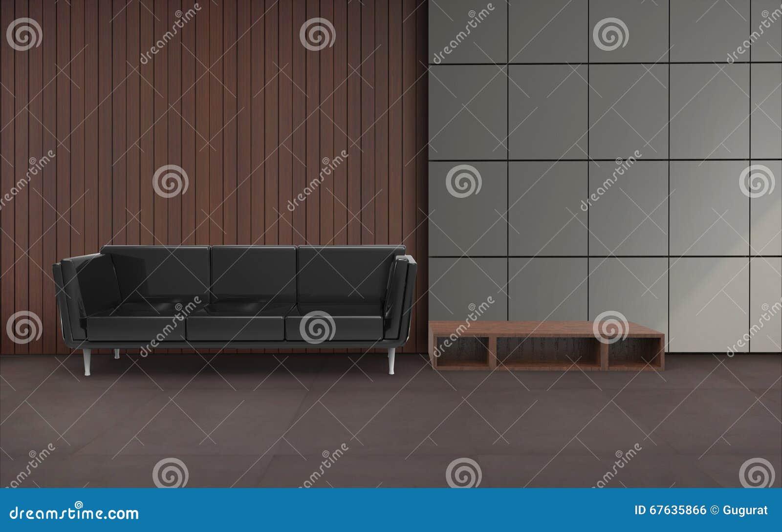 Woonkamer Minimale Zwarte Stoel En Muur Stock Illustratie ...