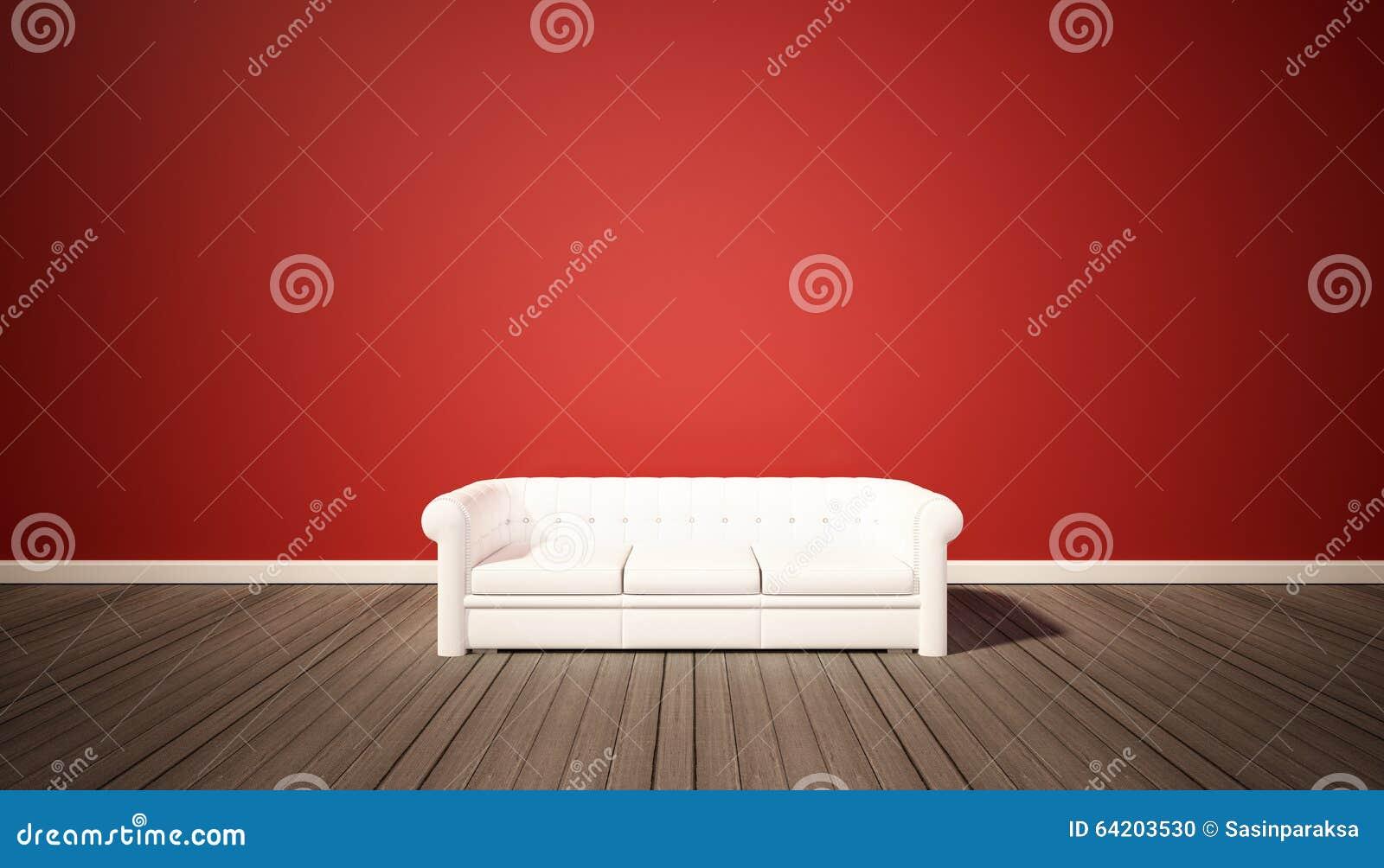 Woonkamer, rode muur en donkere houten vloer met witte bank stock ...