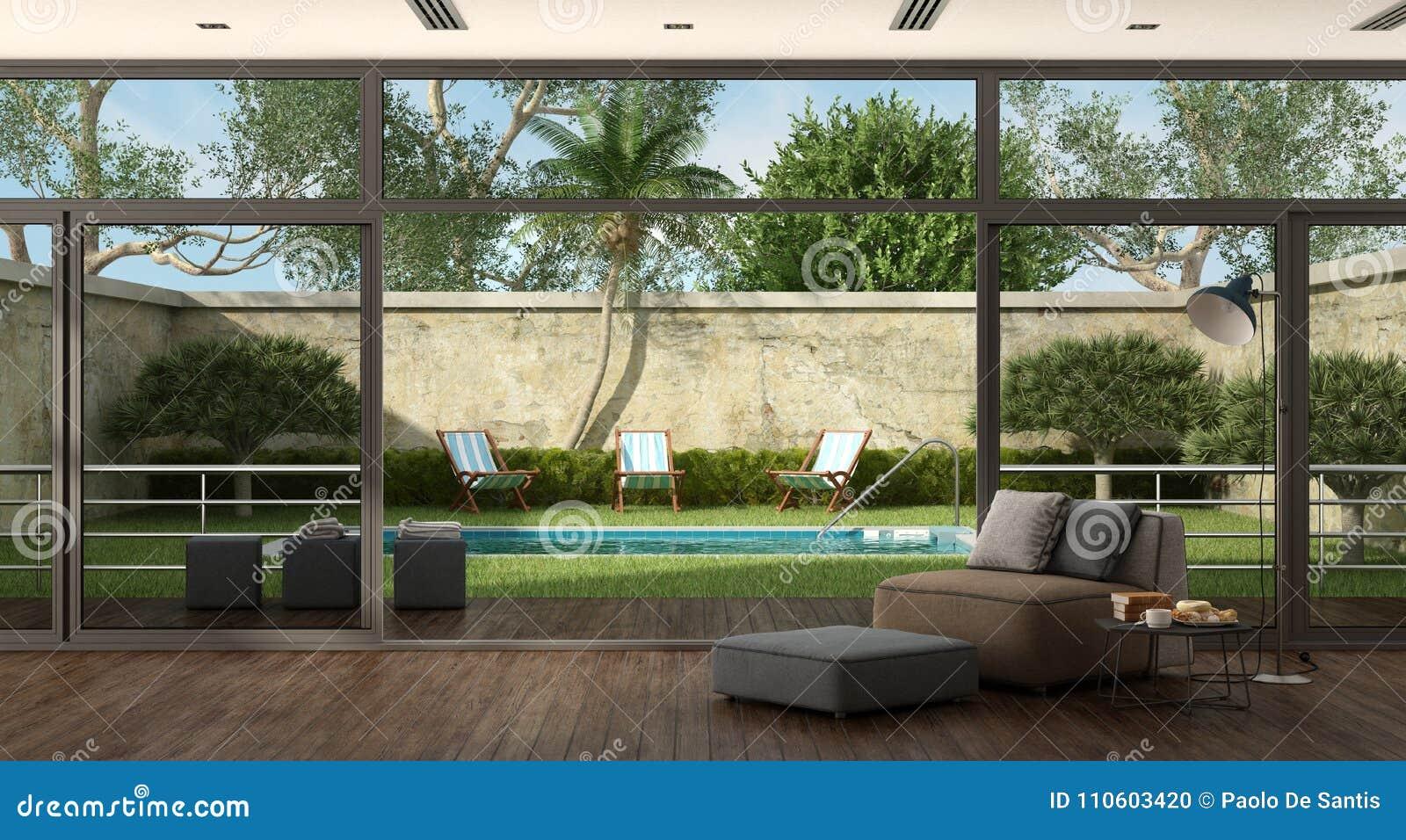 Woonkamer Van Een Villa Met Pool In De Tuin Stock Illustratie ...