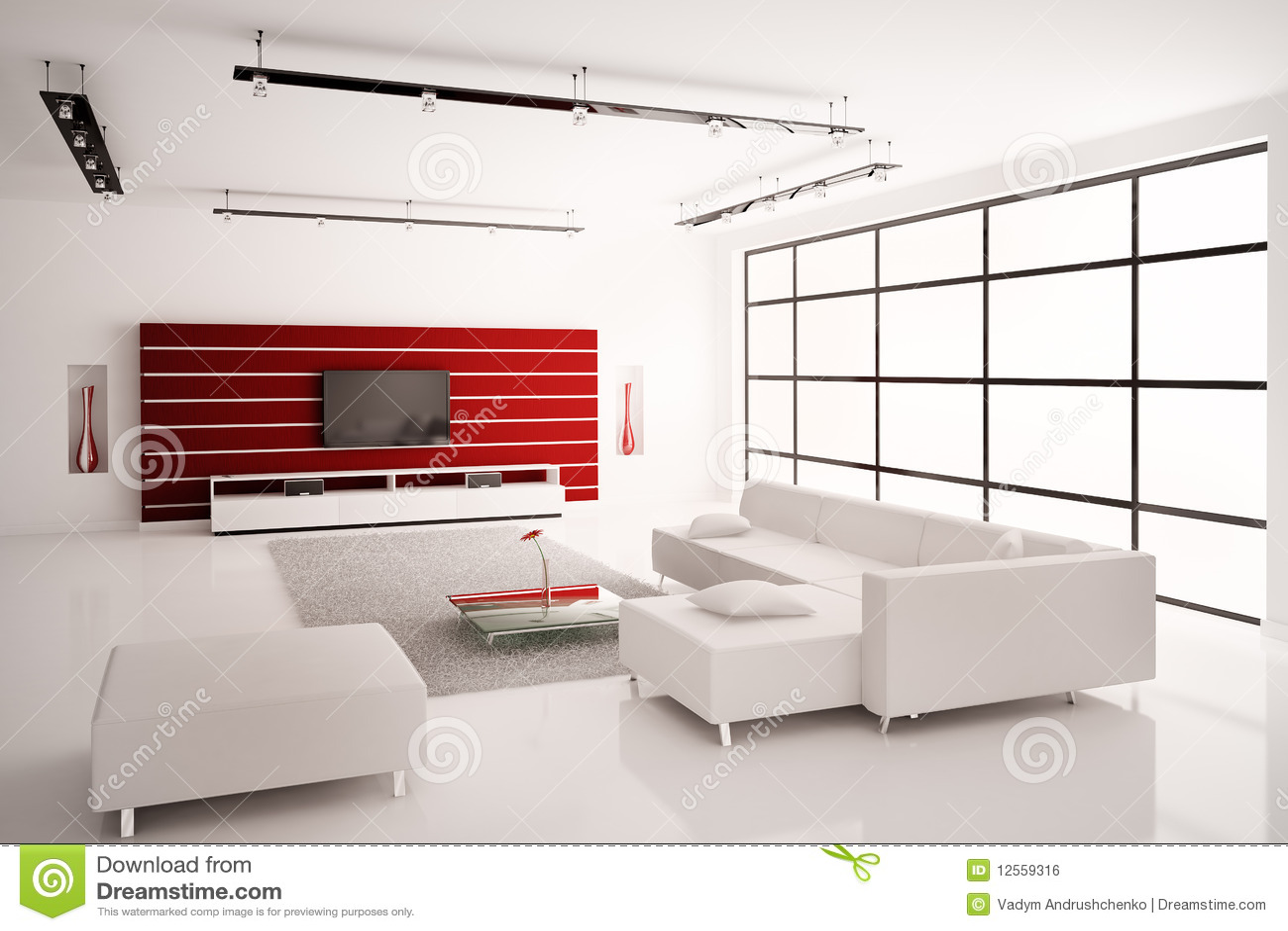 Woonkamer in witte rode binnenlandse 3d royalty vrije stock ...