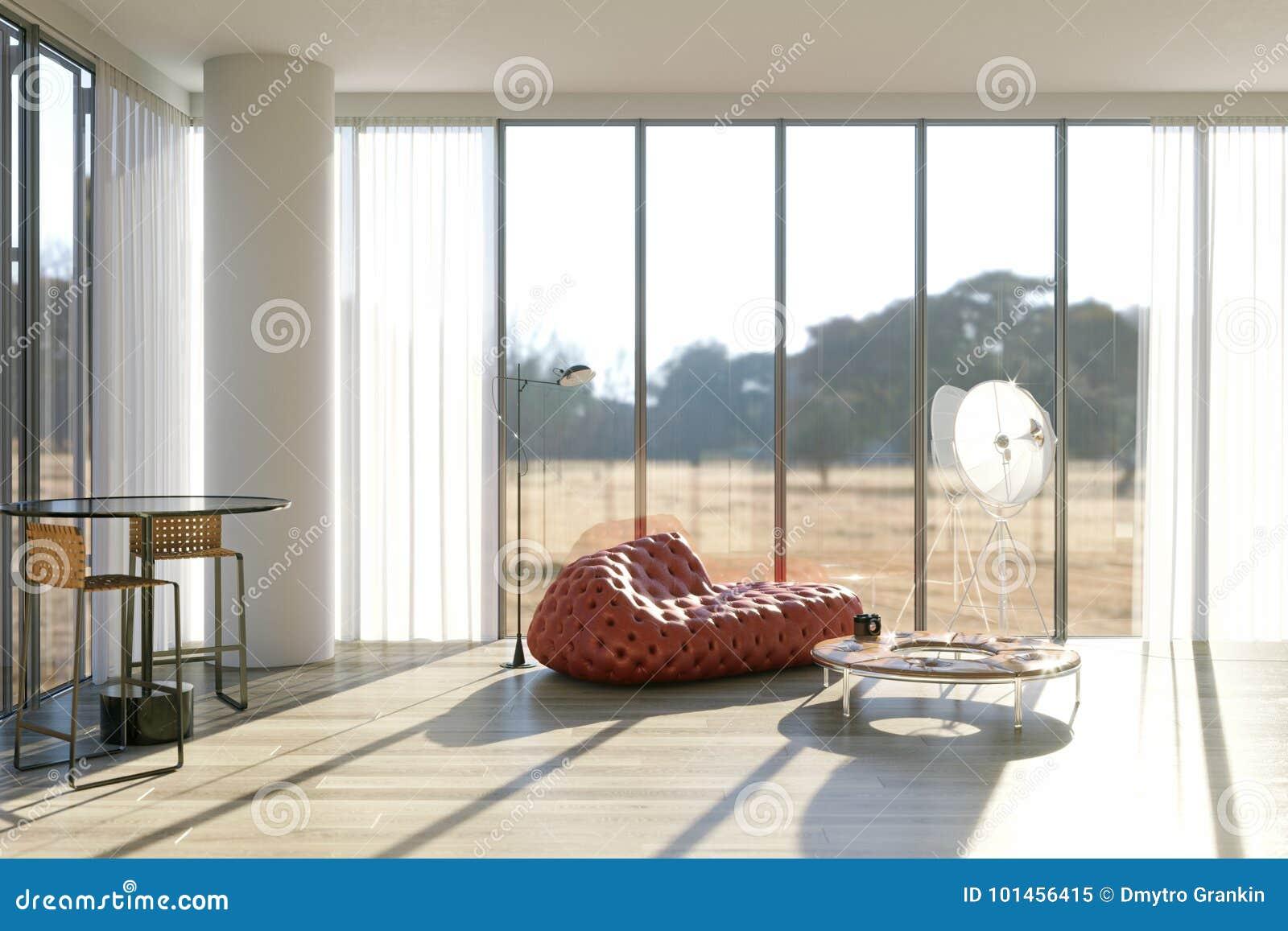 Woonkamer Op Zolder : Woonkamer in zolder met leer rode bank en staande lamp stock