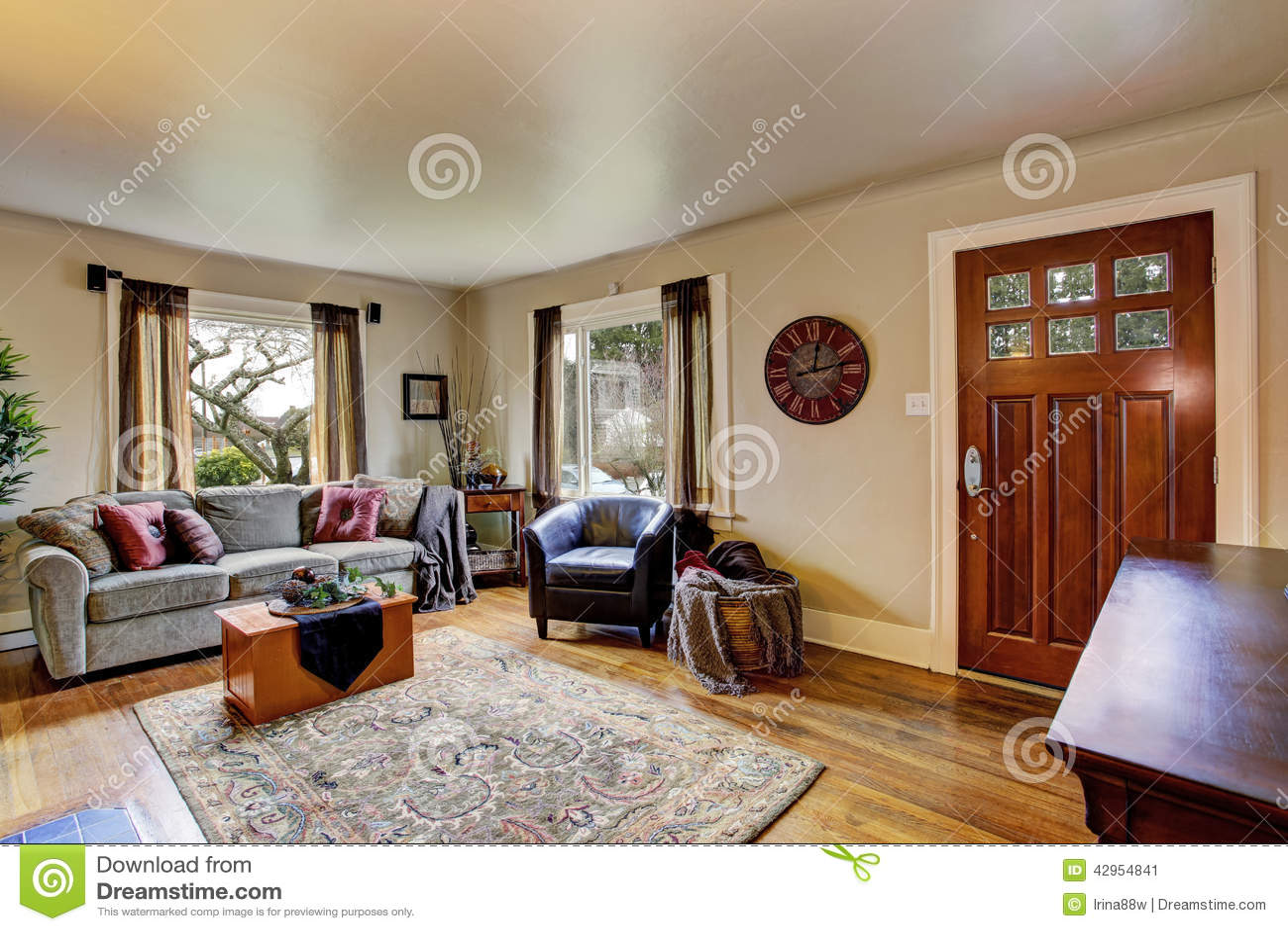 woonkamerbinnenland in amerikaans huis stock foto afbeelding 42954841