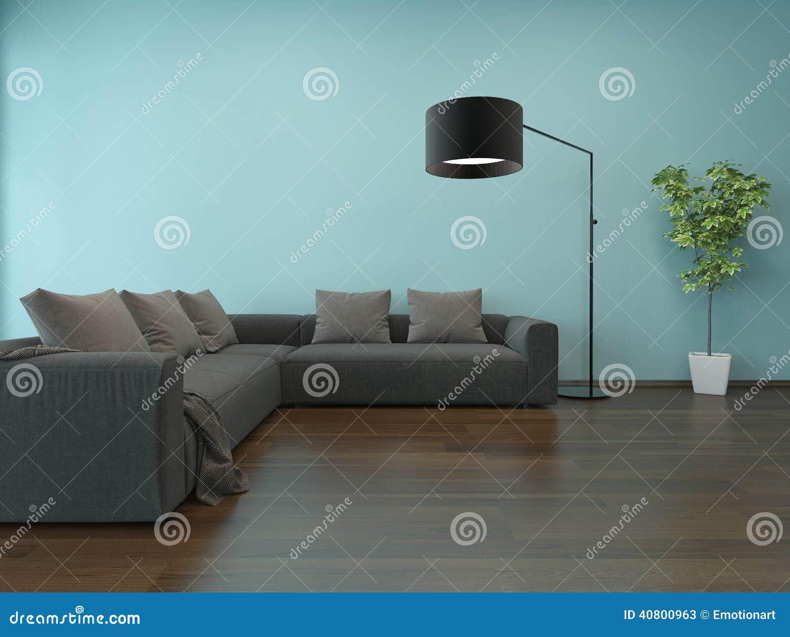 Woonkamerbinnenland met blauwe muur en grijze laag stock illustratie afbeelding 40800963 for Grijze muur