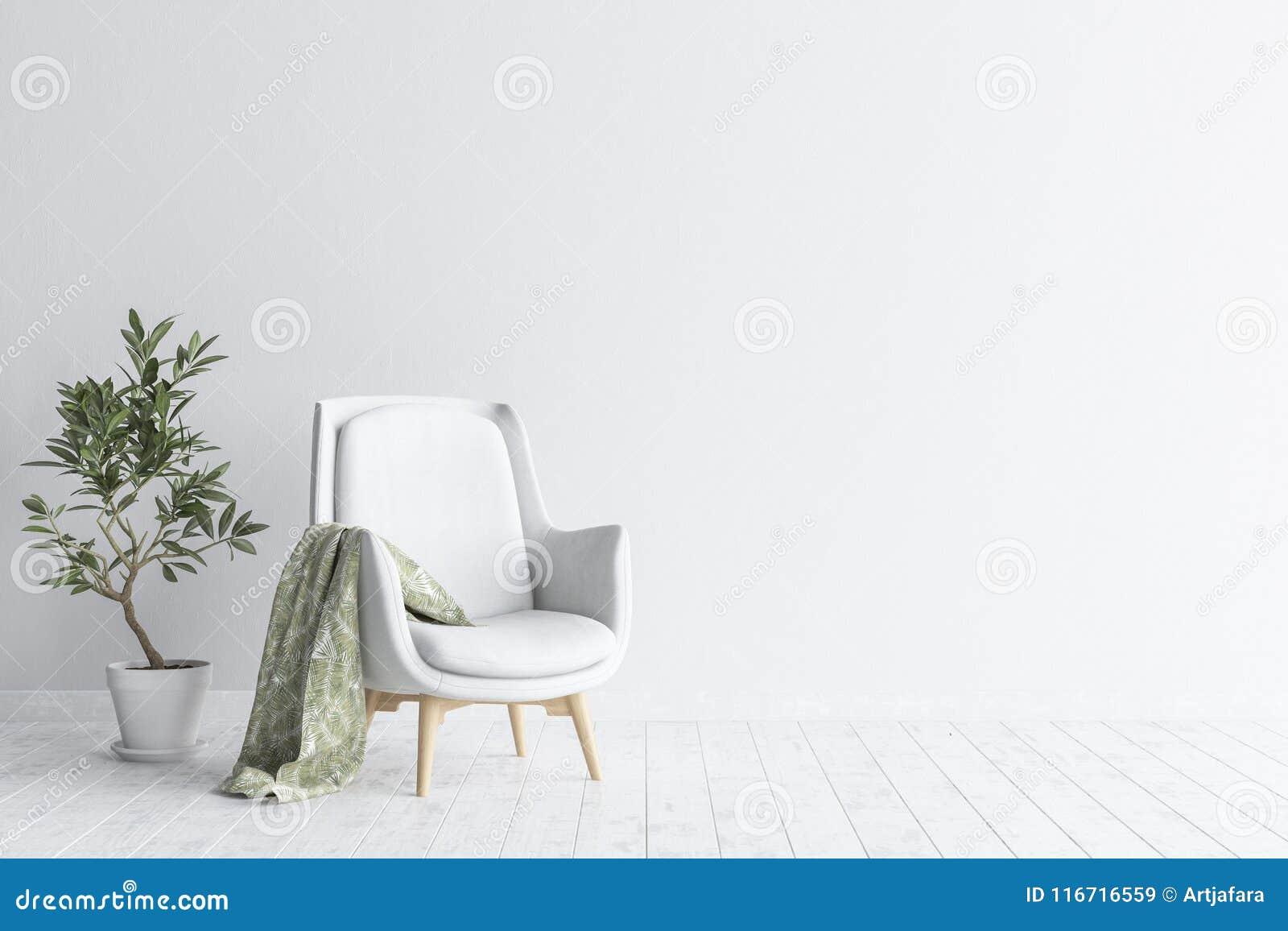 Koraalkleur De Woonkamer : Woonkamerbinnenland met witte bank en bloem witte muurspot op