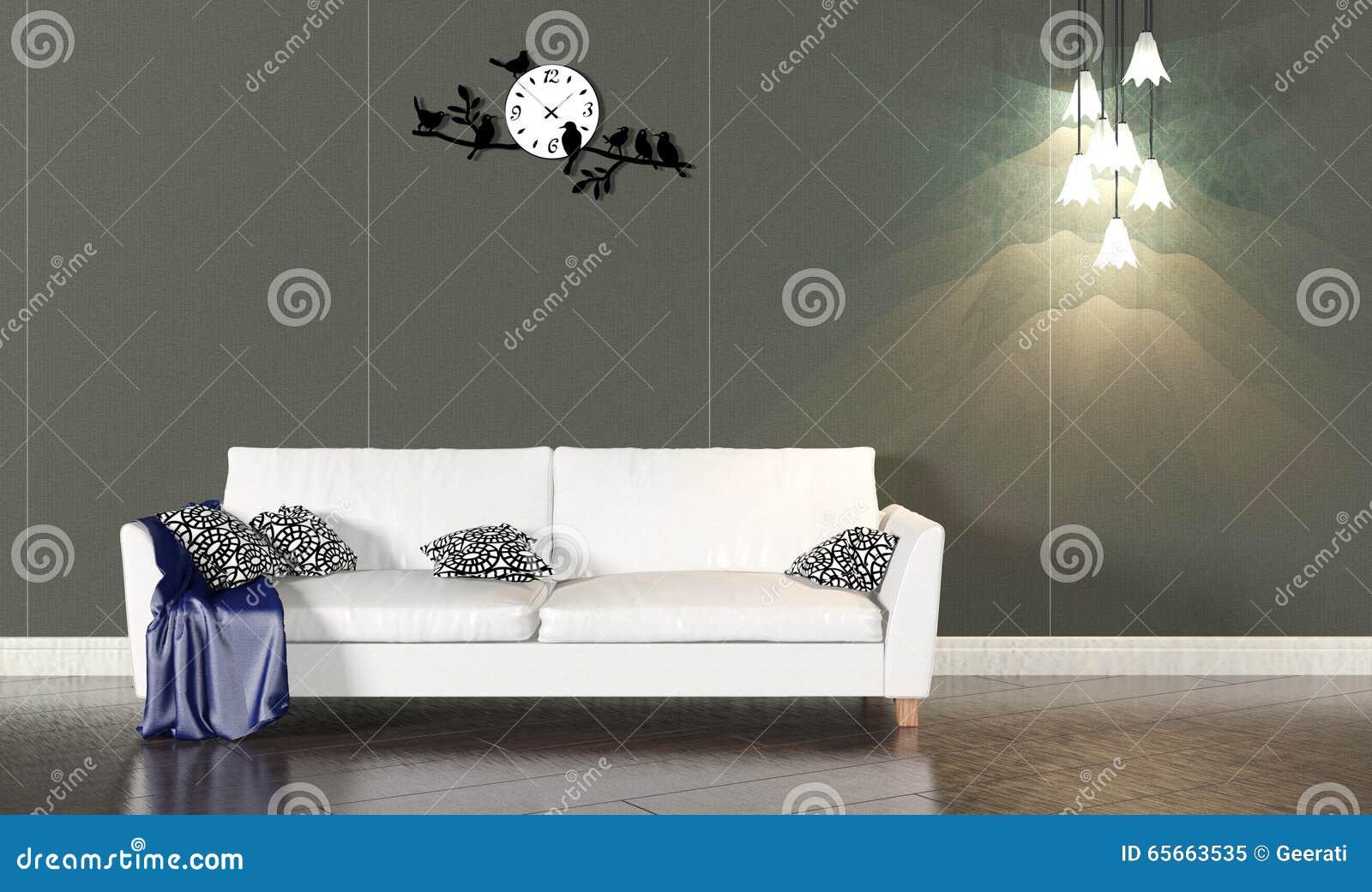 Woonkamerbinnenland met witte bank en donkere muur stock foto ...