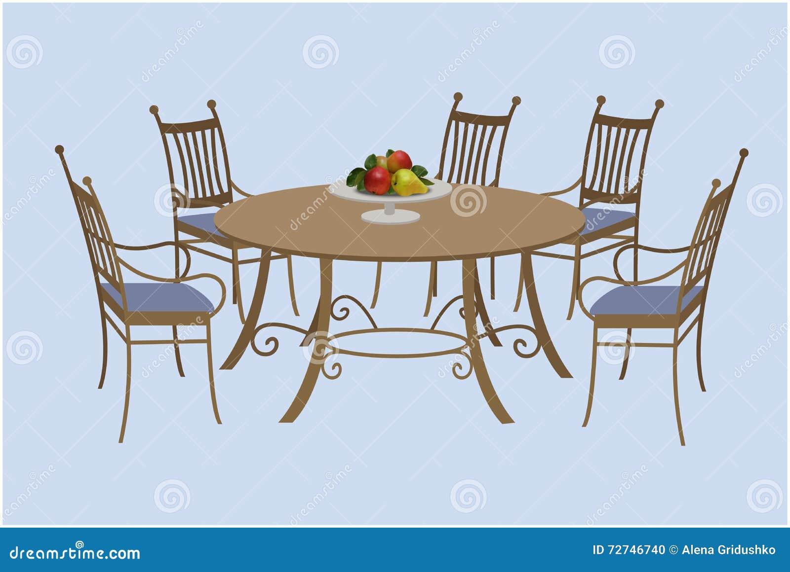 Ronde Tafel En Stoelen.Woonkamermeubilair Stoelen En Een Rondetafel Vector Illustratie