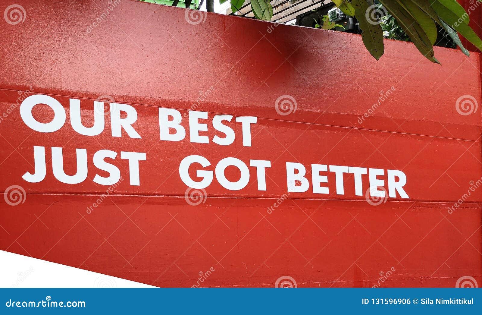 Woord van de sticker is het witte kleur een Ons beste enkel geworden beter op rode muur voor de zaken van de successiedienstenind