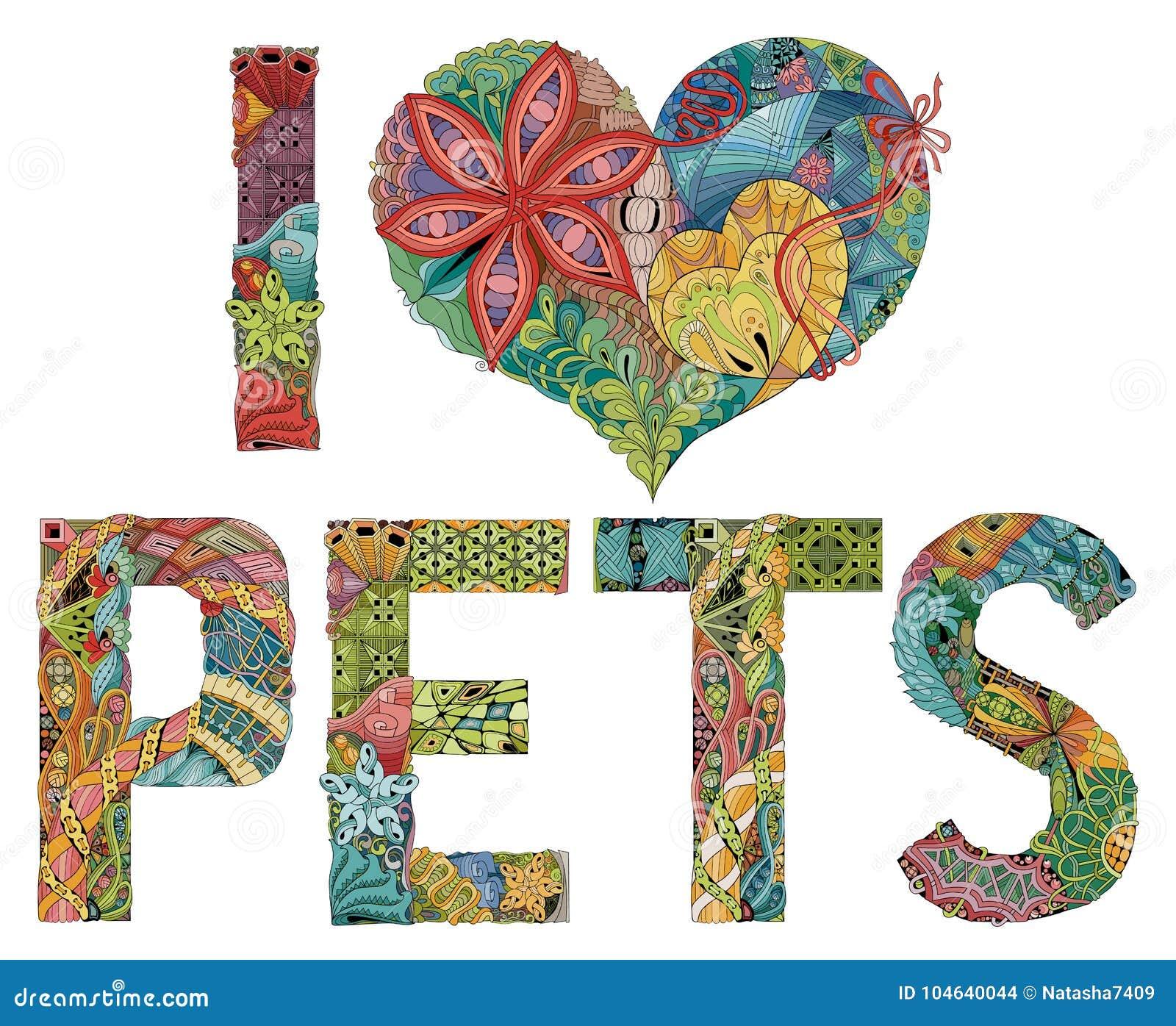 Download Woorden I LIEFDEhuisdieren Vector Decoratief Zentanglevoorwerp Vector Illustratie - Illustratie bestaande uit grafisch, stof: 104640044