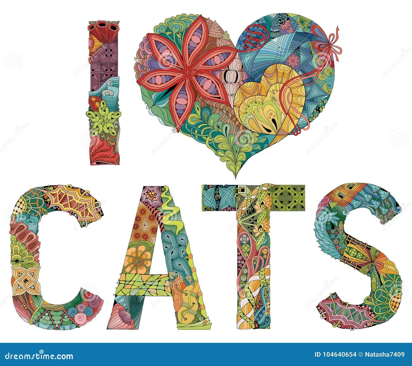Download Woorden I LIEFDEkatten Vector Decoratief Zentanglevoorwerp Vector Illustratie - Illustratie bestaande uit dieren, patroon: 104640654