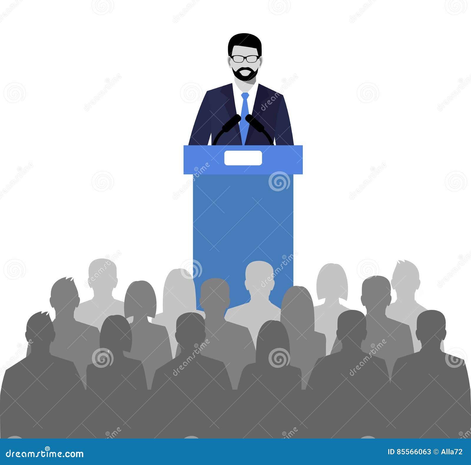 Woordvoerder die van de tribune spreken openbare spreker en een menigte op stoelen