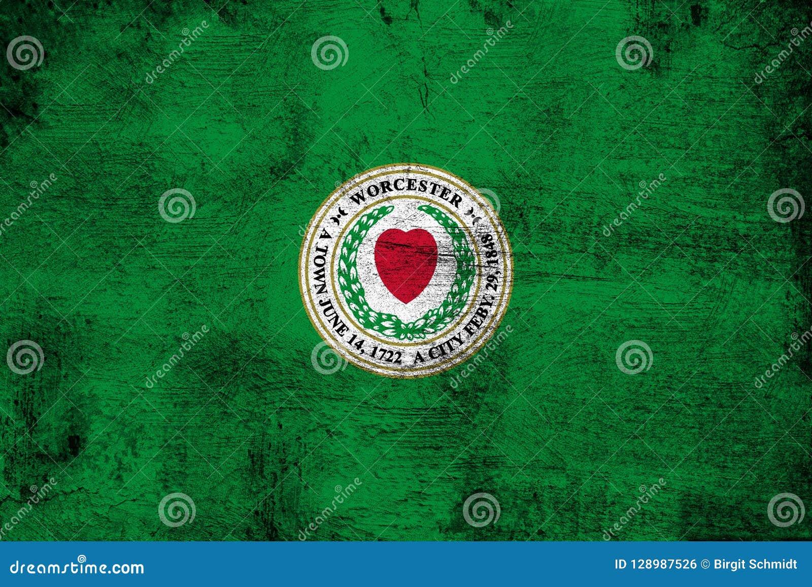 Worcester Massachusetts arrugginito ed illustrazione della bandiera di lerciume