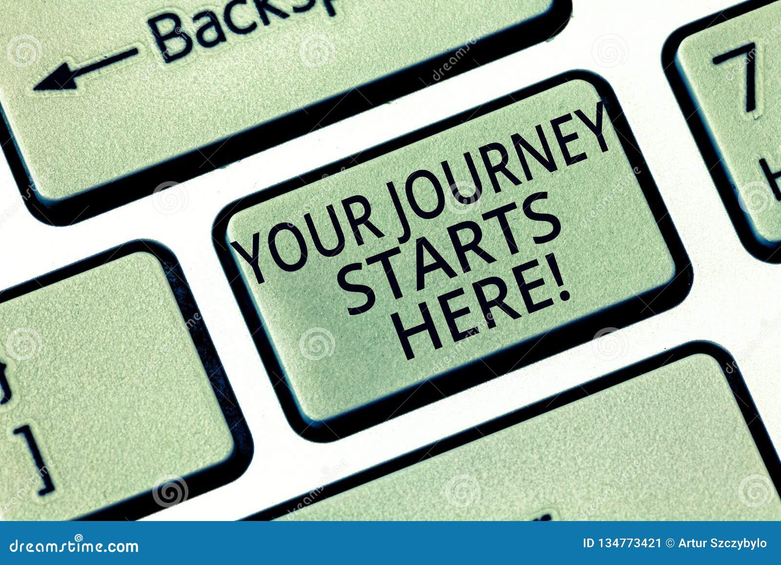 Word écrivant à texte vos débuts de voyage ici Concept d affaires pour la motivation pour mettre en marche un clavier d inspirati