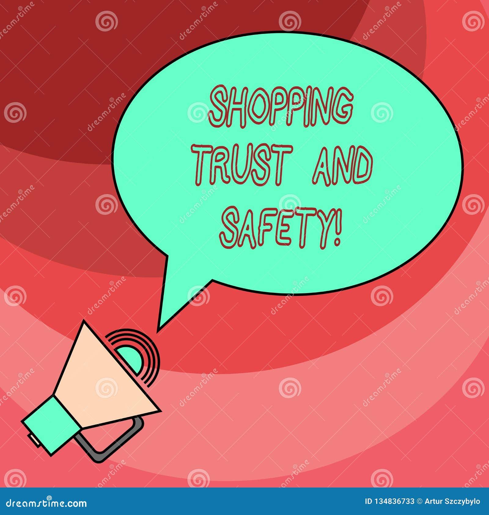 Word écrivant la confiance et la sécurité d achats des textes E