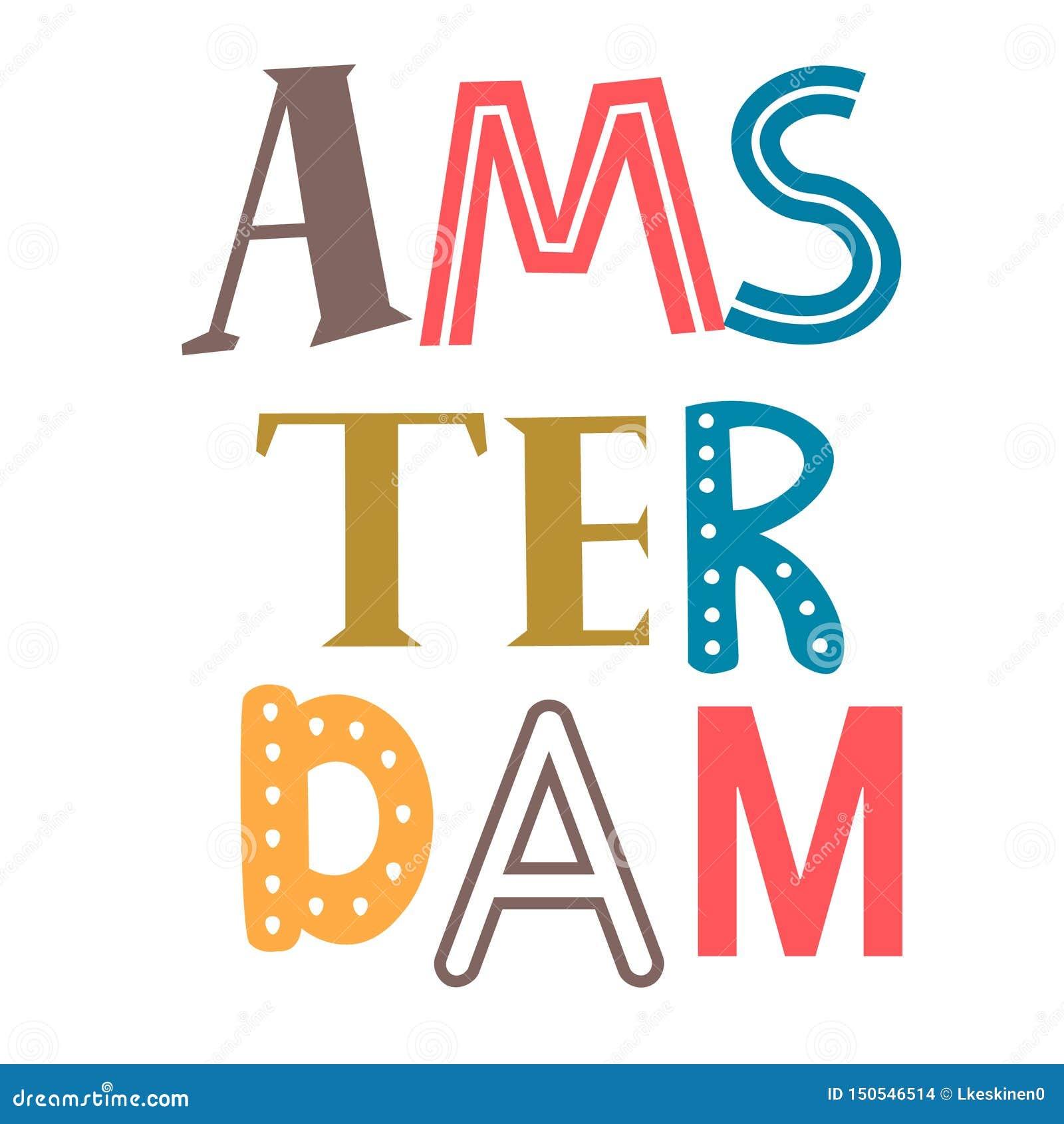 Word Amsterdam flat illustration on white