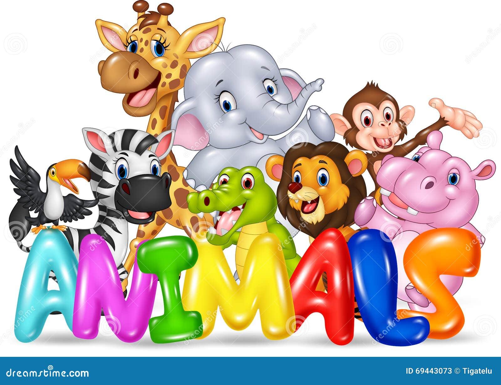 Word Animal With Cartoon Wild Animal Stock Vector