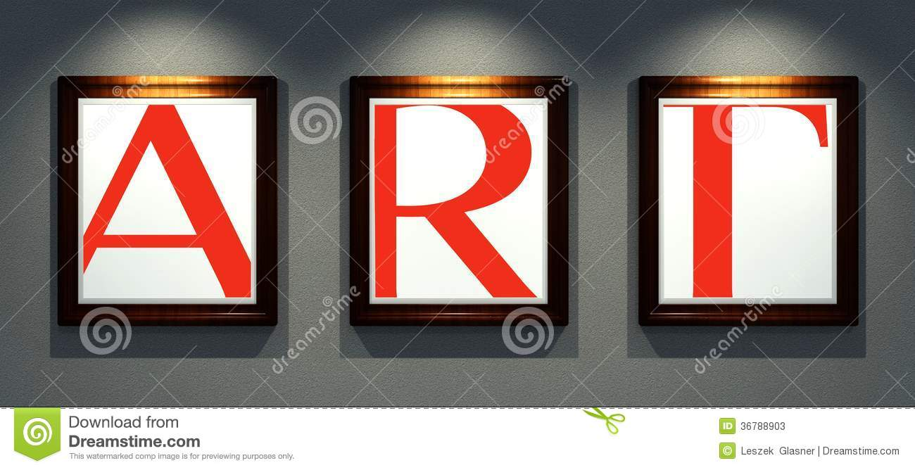word art in frames of images on wall gallery stock