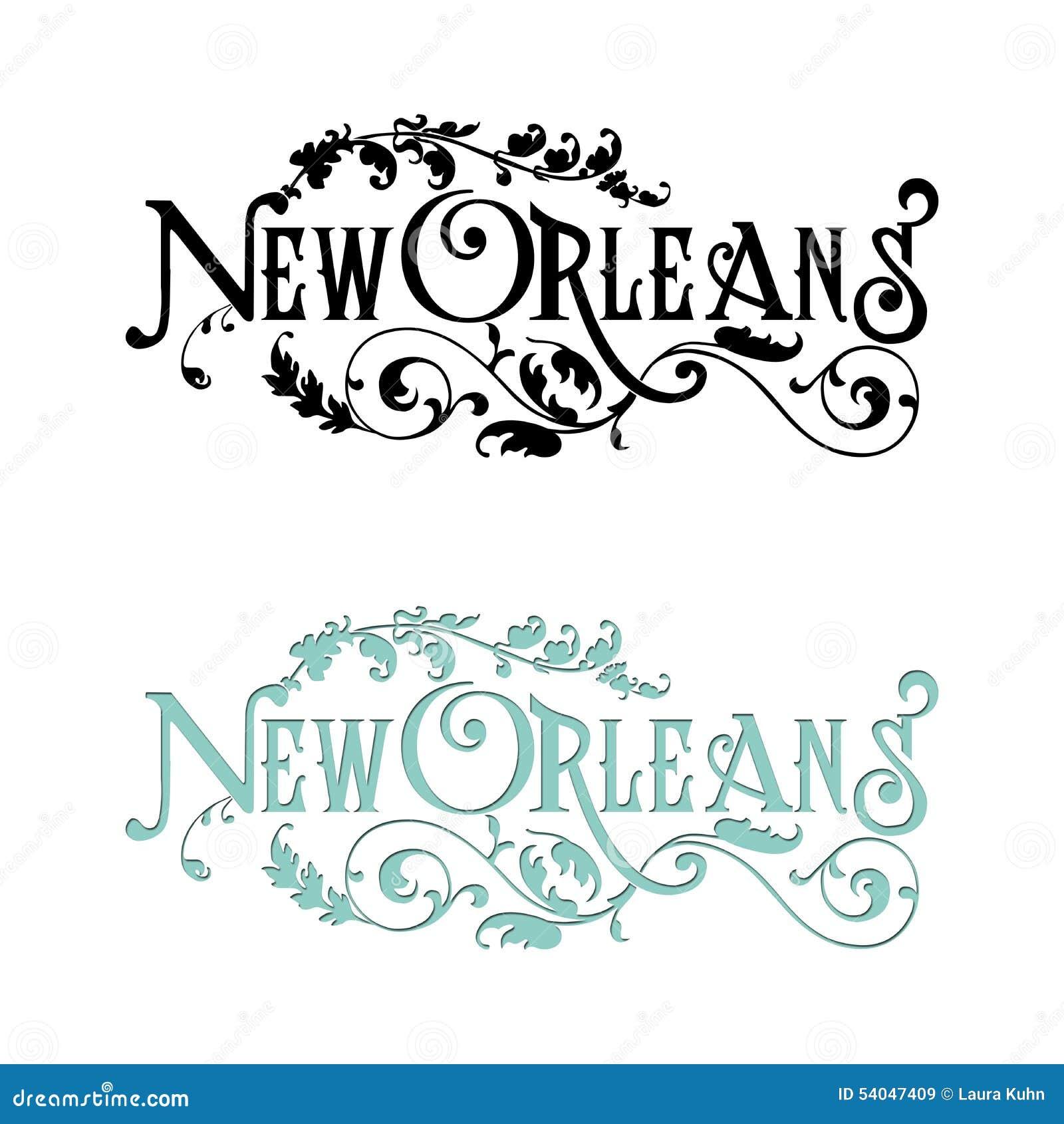 Word Art New Orleans Vintage Postcard Stock Photo Image