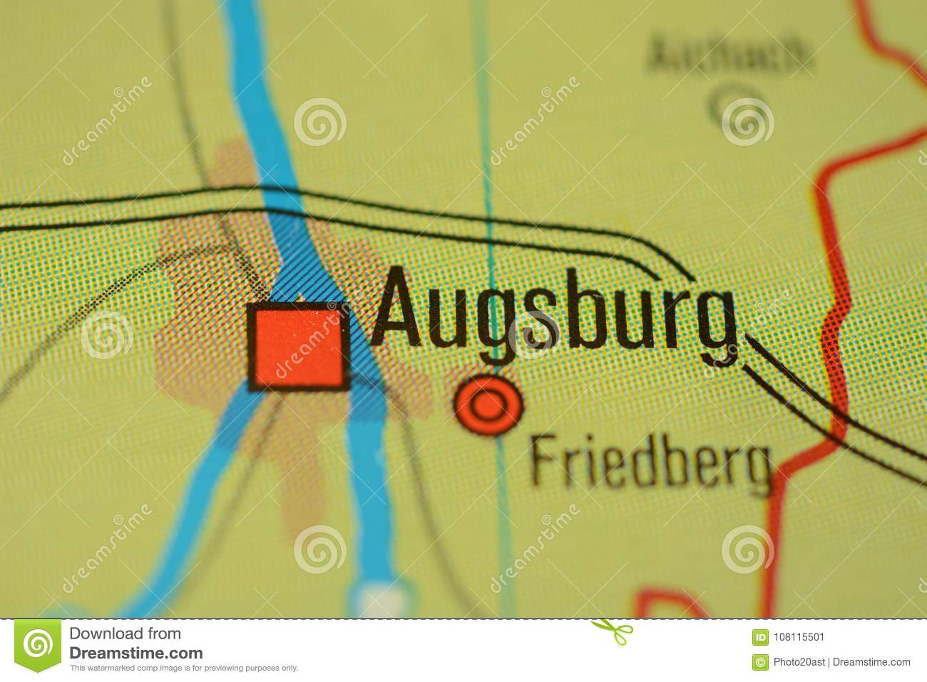 The Word Augsburg On The Map Stock Image Image Of Word Germany