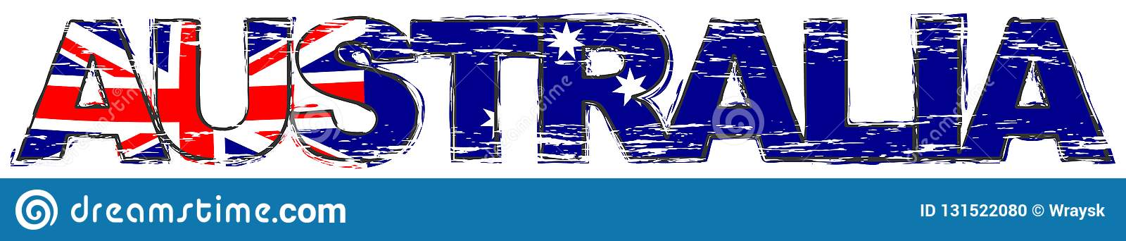 Word AUSTRALIE avec le drapeau national australien sous lui, regard grunge affligé