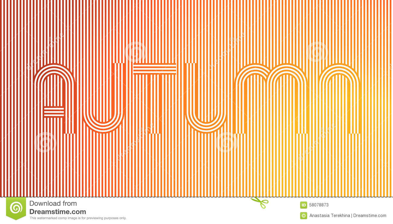 Line Art Posters : Word autumn geometric stripy line art poster in yellow