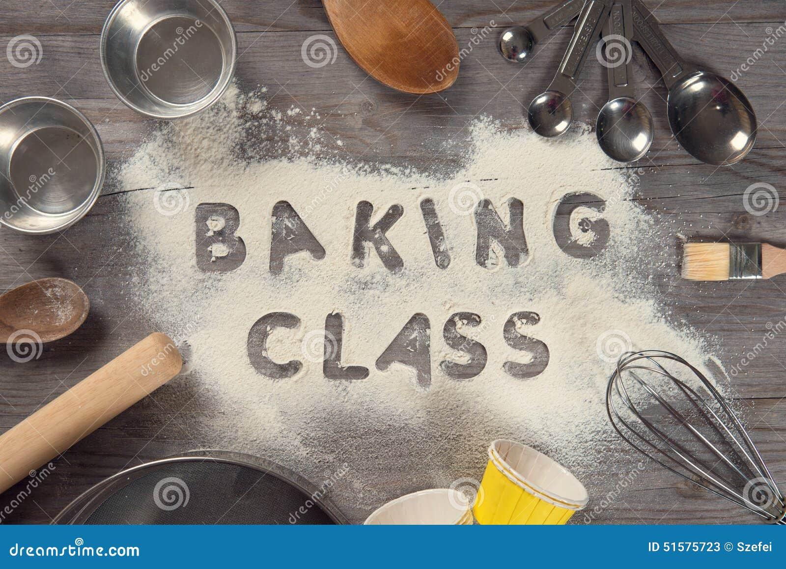 Word Baking Class Written In White Flour Stock Photo