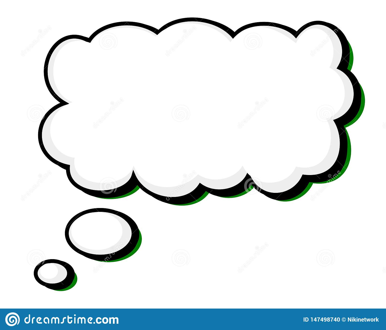 Word Balloon with Solid Black Outline Green Highlight
