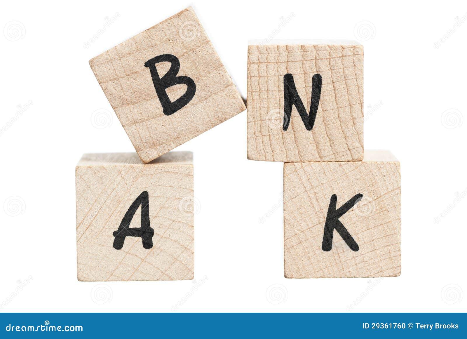 Word bank written with wooden blocks stock photo image 29361760 royalty free stock photo buycottarizona Images