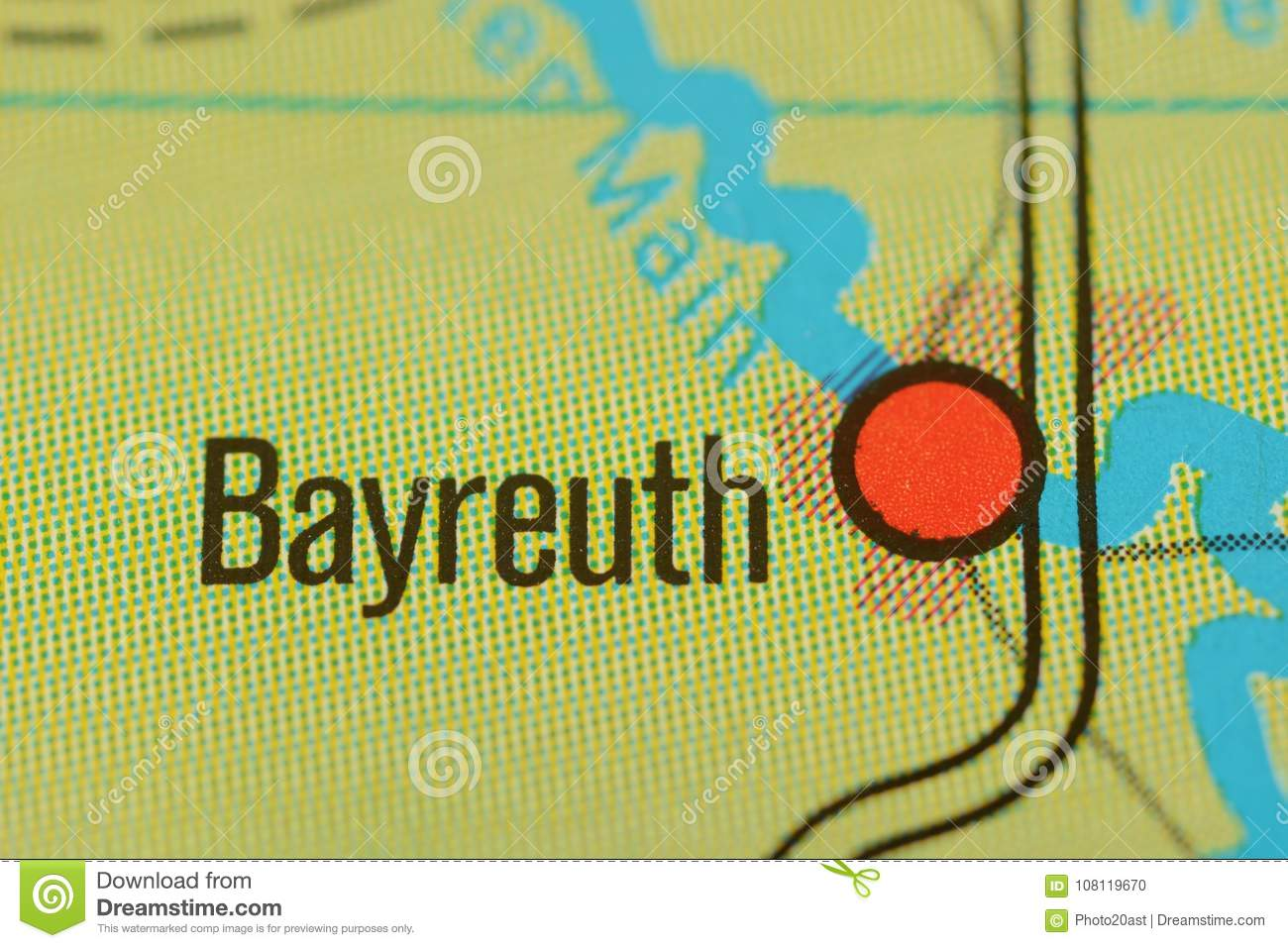 The Word Bayreuth On The Map Stock Photo Image Of Picture City