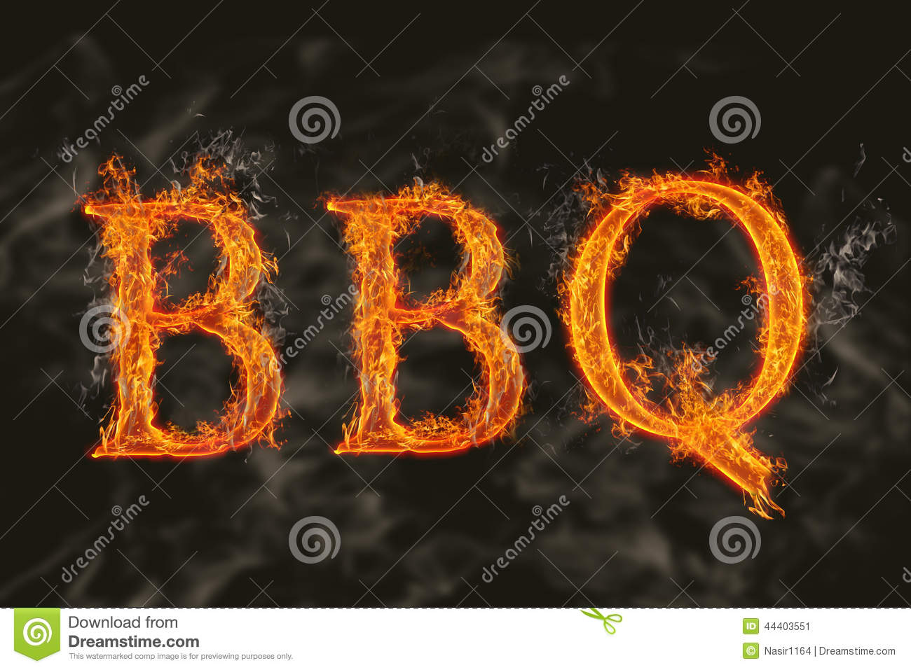Word Bbq With Flaming Fire Effect Stock Illustration