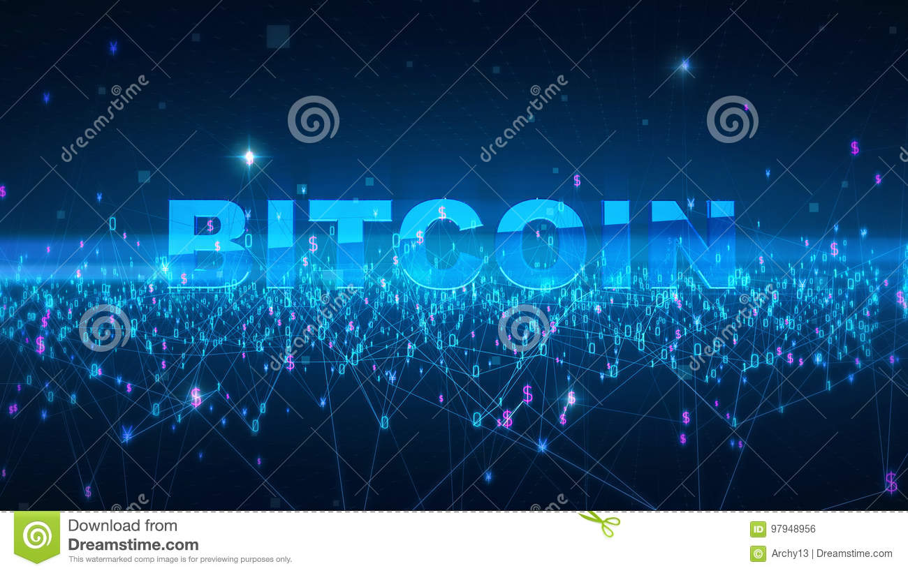 Word bitcoin Fintech technology and Blockchain network concept , Distributed ledger technology, Distributed connection