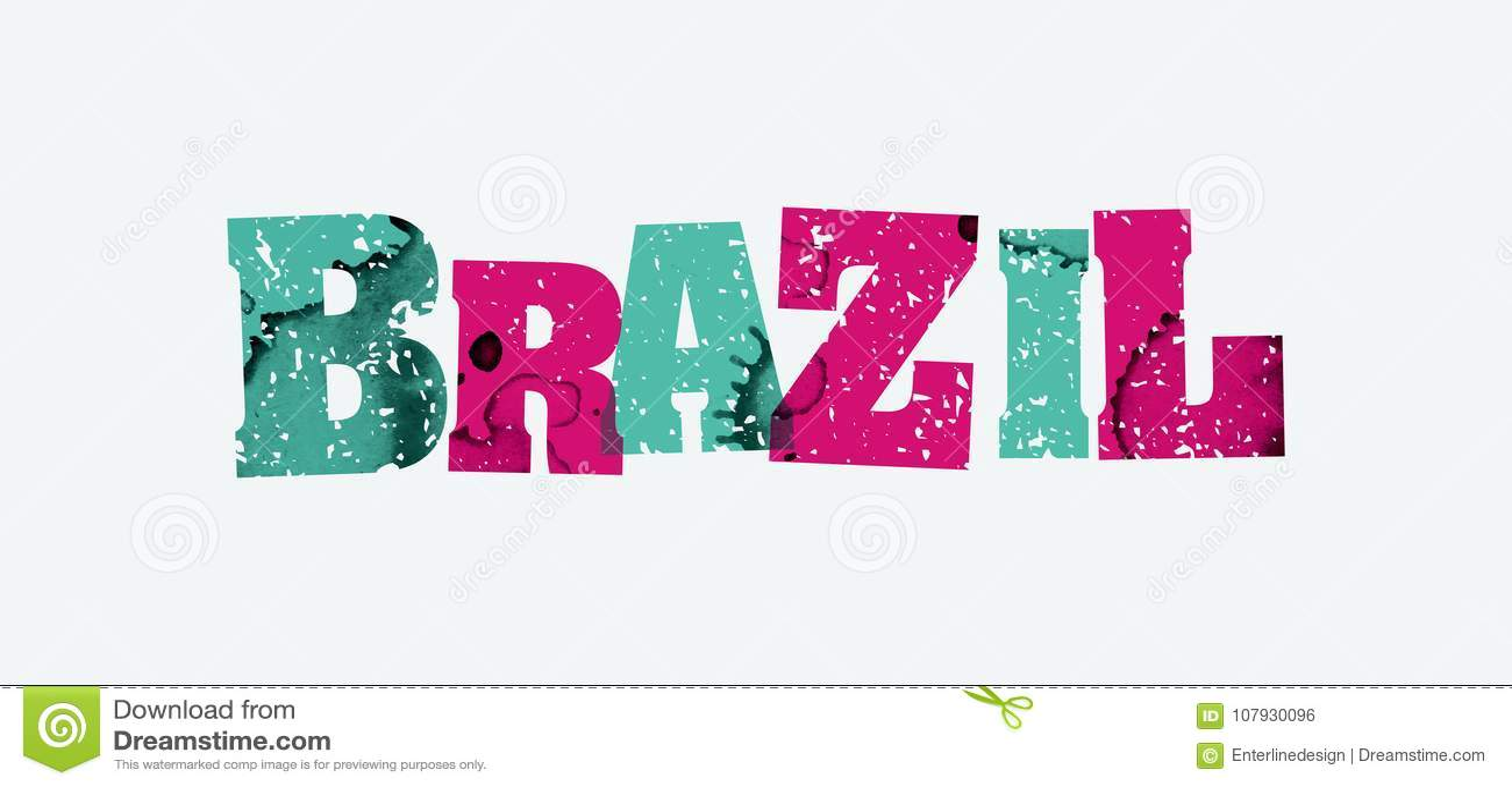 Brazil Concept Stamped Word Art Illustration Stock Vector