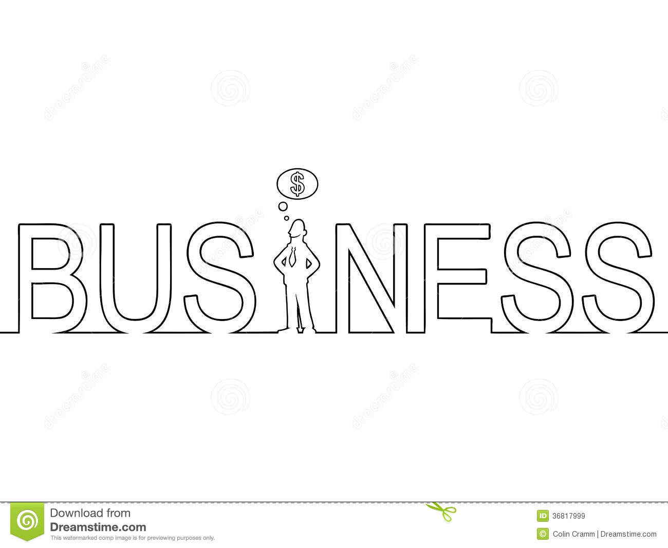 Line Art Word : The word business with a man standing in it stock