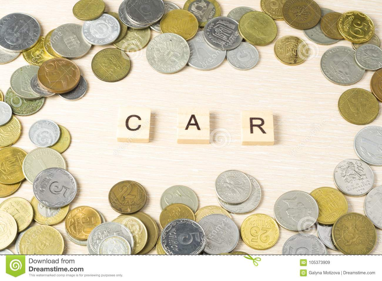 Word CAR On Wooden Cube With Coins Frame At Wood Background. Finance ...