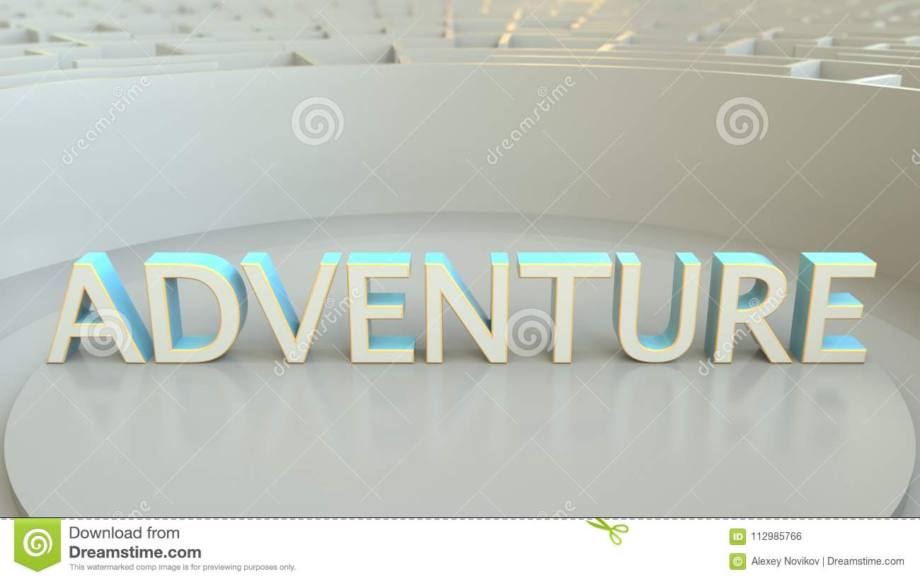 ADVENTURE word in the center of a big maze. Conceptual 3D rendering