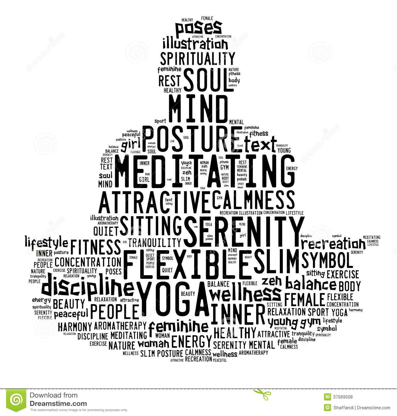 Word Cloud Composed In The Shape Of A Man Doing Yoga
