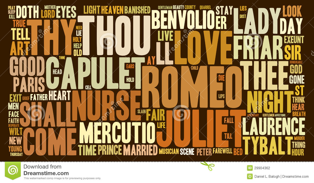romeo and juliet word cloud stock photography