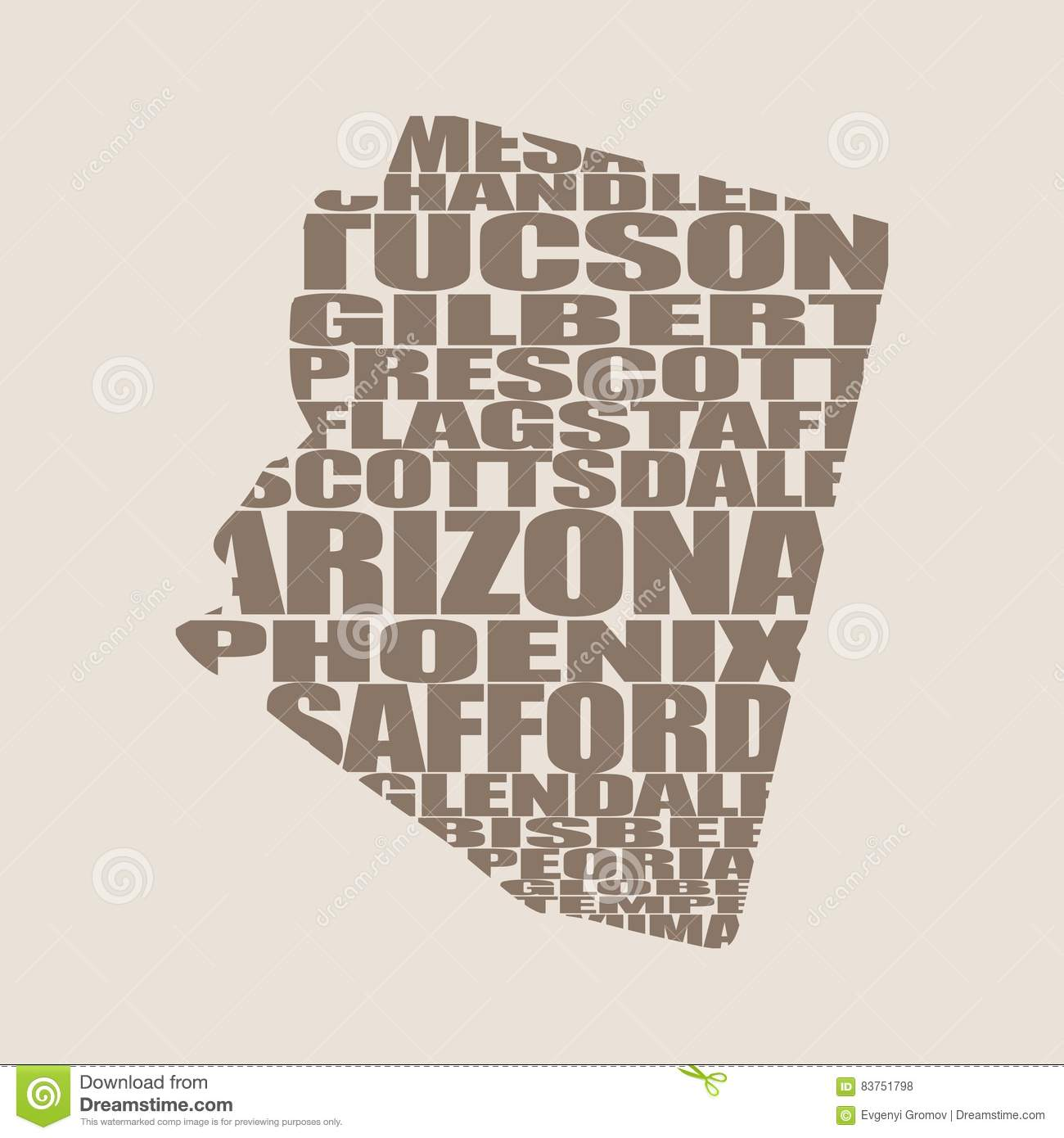 Map Of Arizona And Cities.Word Cloud Map Of Arizona State Stock Vector Illustration Of Cloud