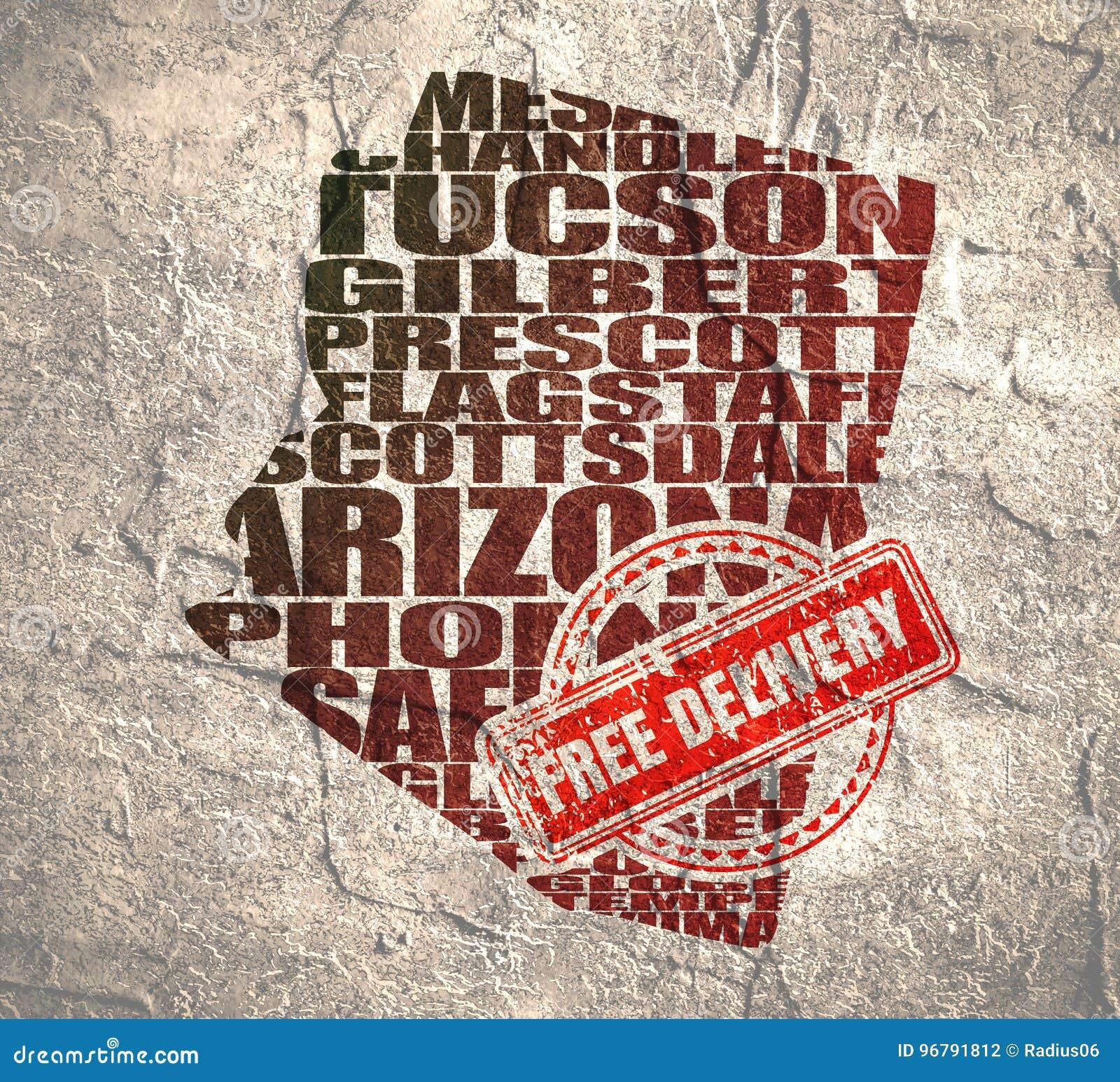 Arizona State Map Free.Word Cloud Map Of Arizona State Stock Illustration Illustration Of