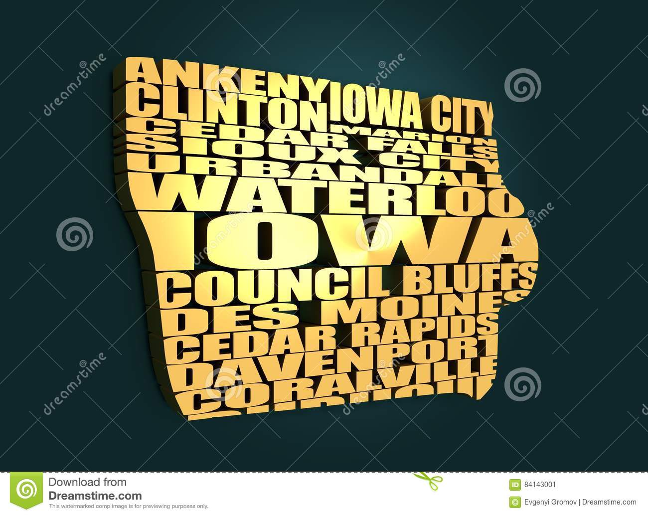 Word Cloud Map Of Iowa State Stock Illustration - Illustration of ...