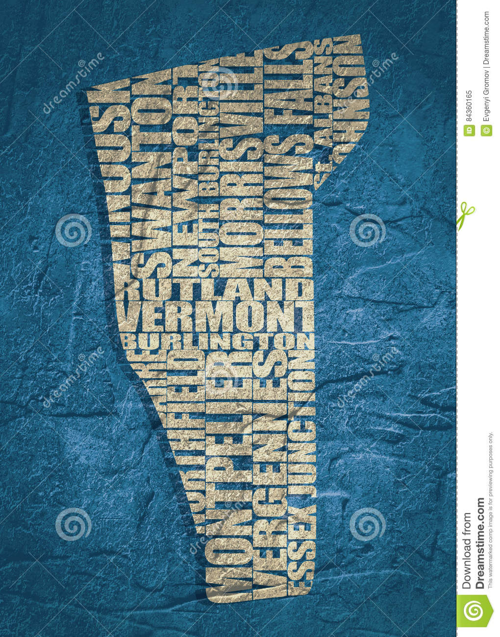 Word Cloud Map Of Vermont State Stock Illustration ...