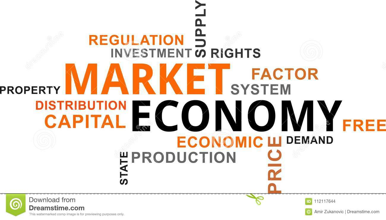 word cloud market economy stock vector illustration of