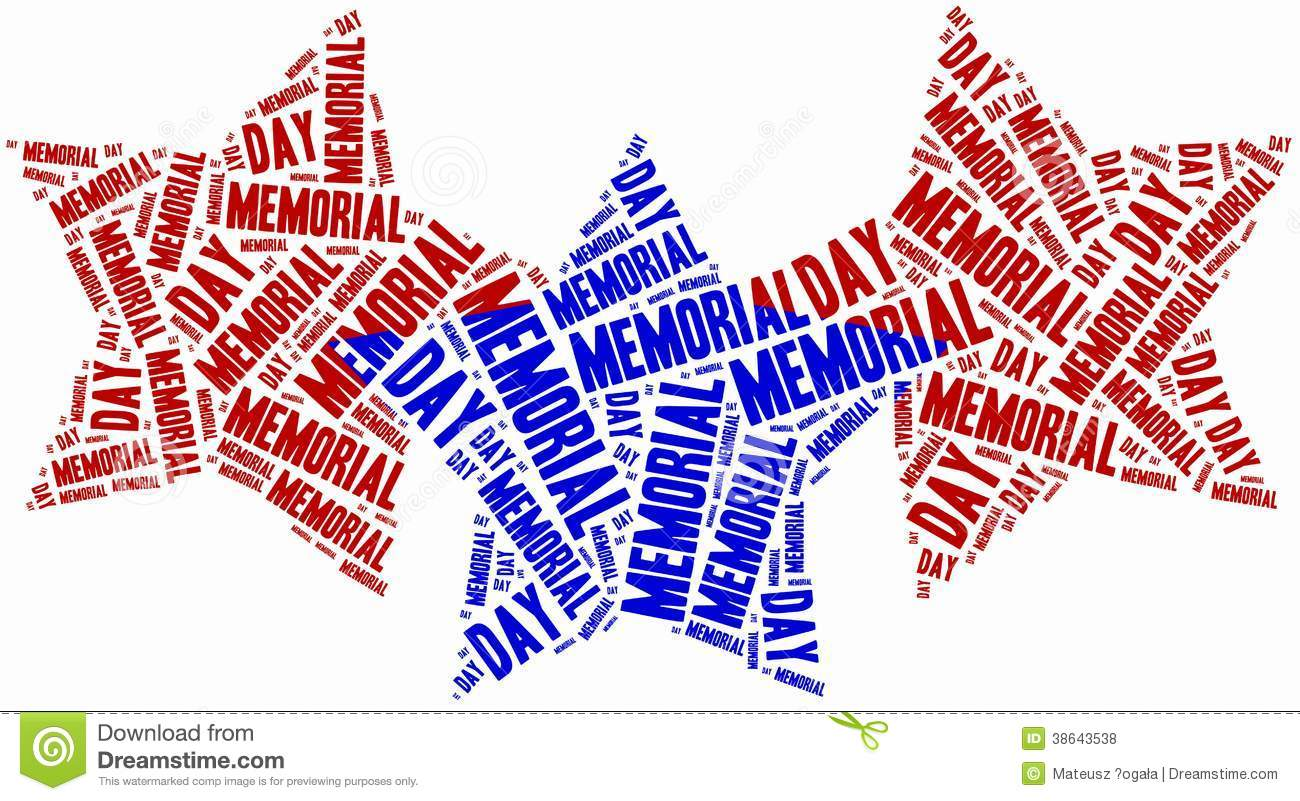 word cloud memorial day related in shape of stars stock illustration