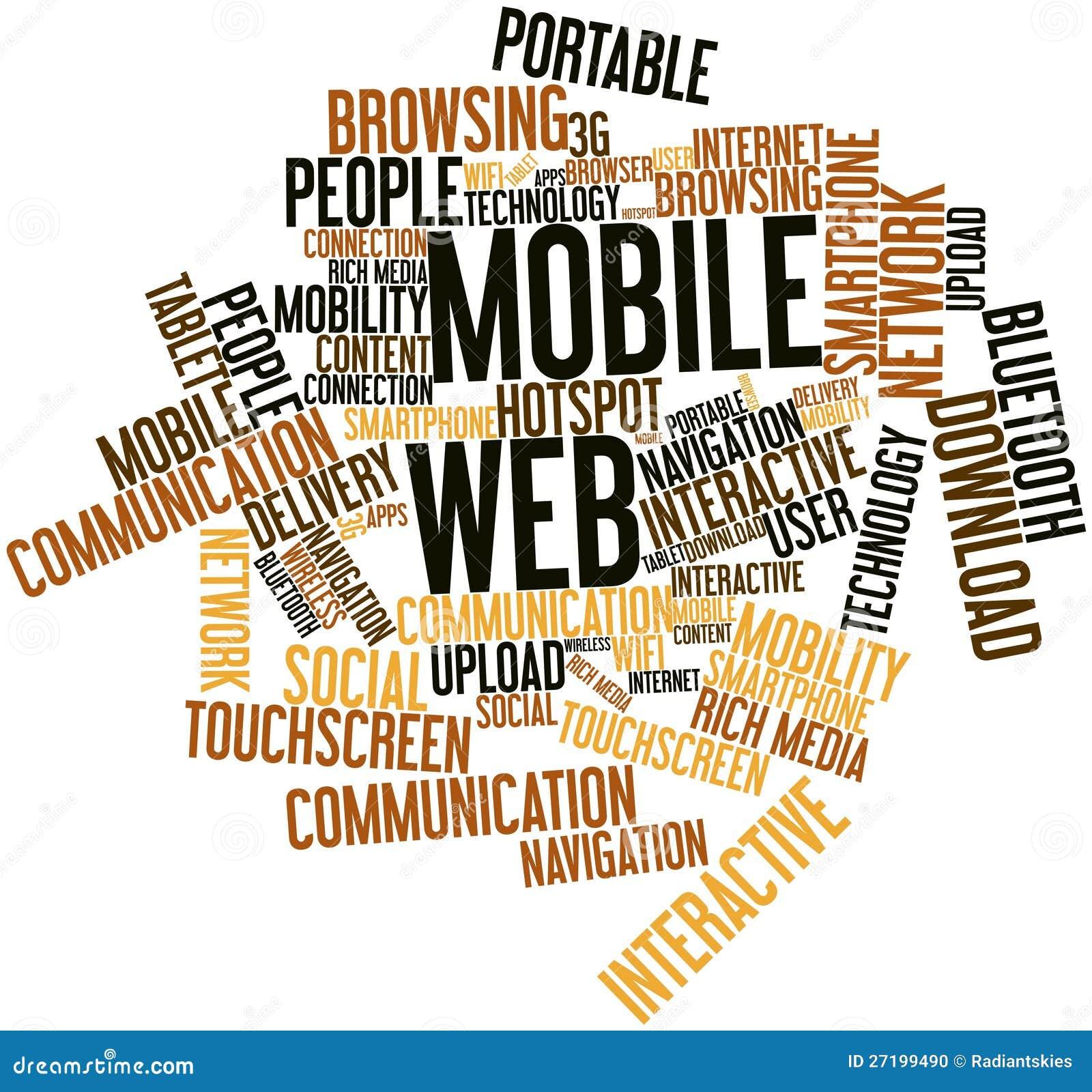 The Word Websites: Word Cloud For Mobile Web Stock Illustration. Illustration