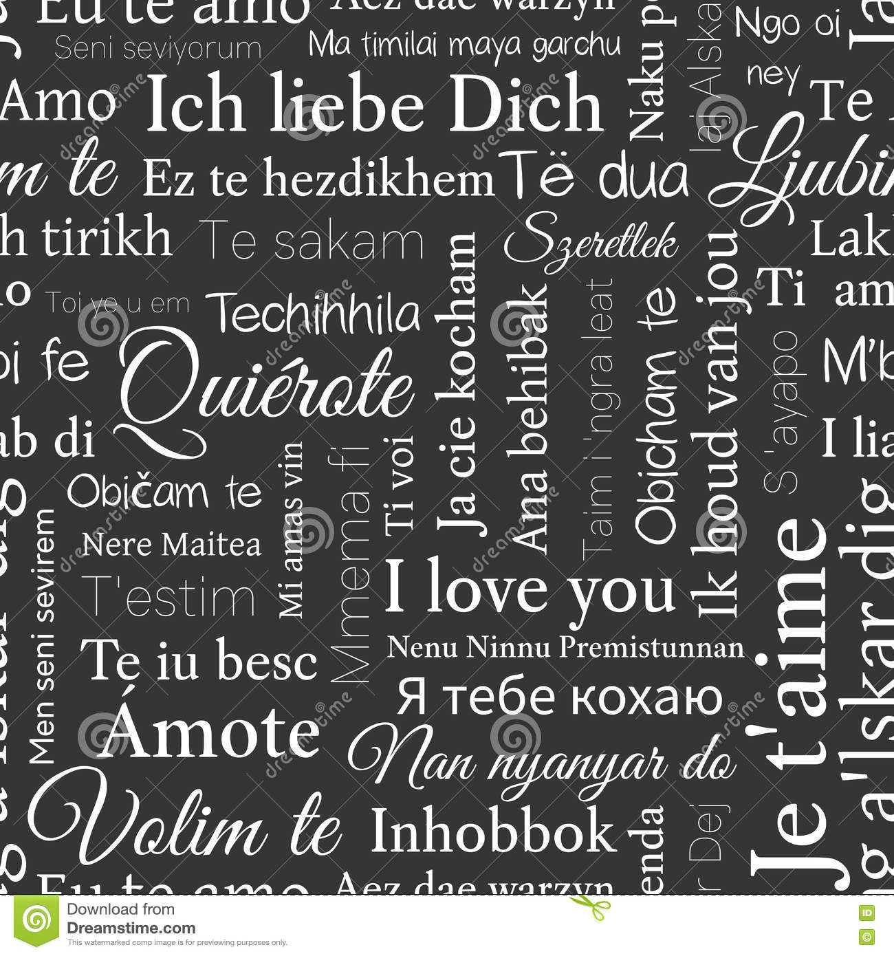 Word Cloud Pattern Phrase I Love You In Different Languages