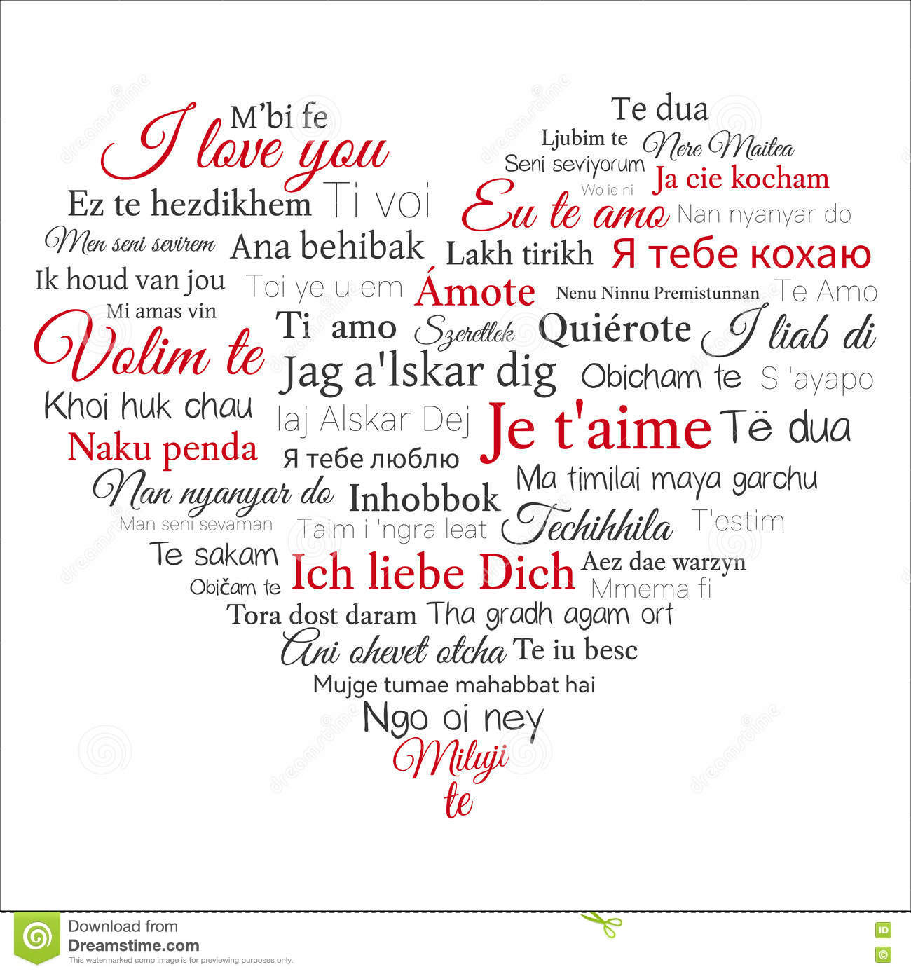 Word Cloud Phrase I Love You In Many Languages Stock