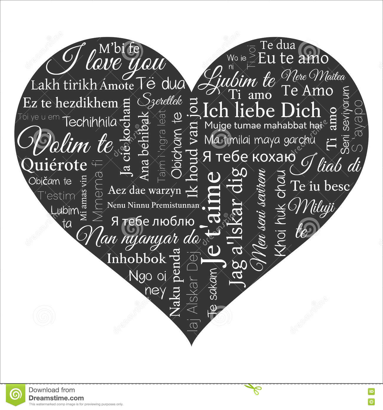 Download Word Cloud Phrase I Love You In Many Languages Stock Vector Il Ration