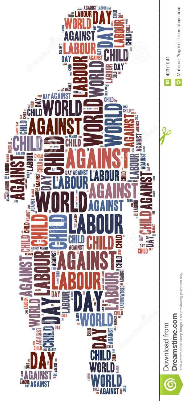 Word Cloud Related To World Day Against Child Labour Stock ...