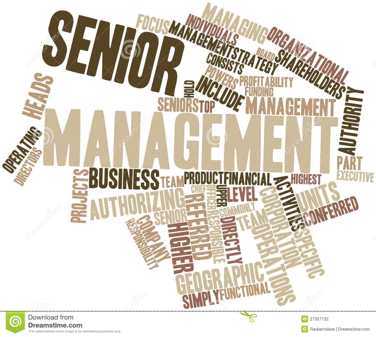 Abstract word cloud for Senior management with related tags and terms.