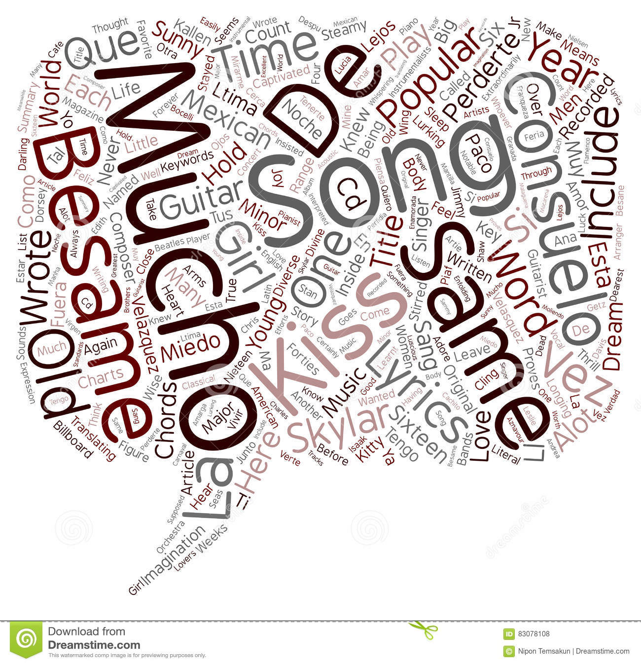Word Cloud Text Background Concept Stock Photo Image Of Besame