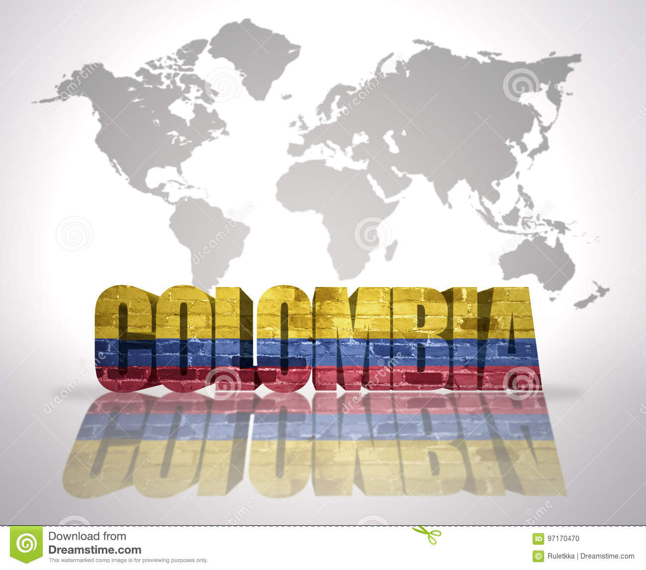 Word Colombia On A World Map Background Stock Illustration ...